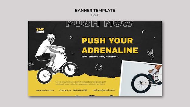 Banner vorlage für bmx radfahren mit mann und fahrrad