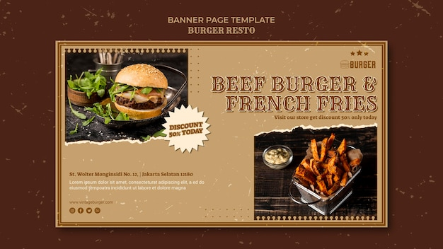 Banner vorlage für burger restaurant