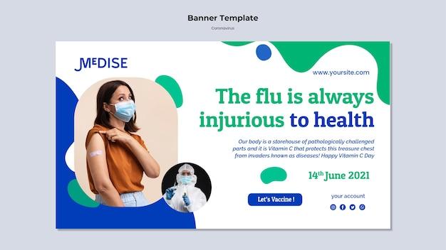 Banner-vorlage für coronavirus-impfstoffe