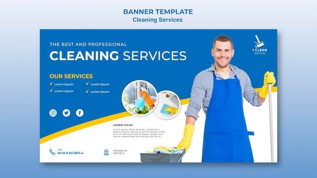 Banner-vorlage für das reinigungsservice-konzept