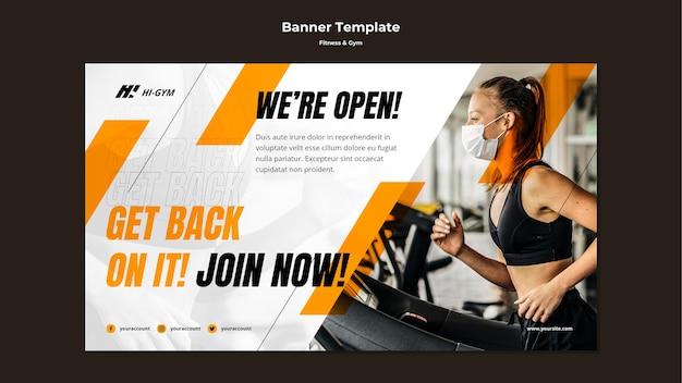 Banner vorlage für das training im fitnessstudio während der pandemie