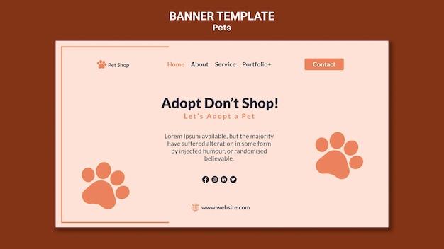 Banner-vorlage für die adoption von haustieren