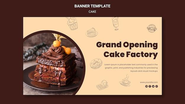 Banner-vorlage für die kuchenfabrik zur eröffnung