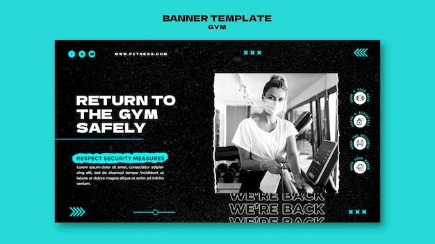 Banner-vorlage für die rückkehr zum fitnessstudio