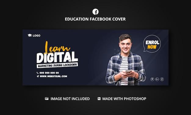 Banner vorlage für digitales lernen für social media post