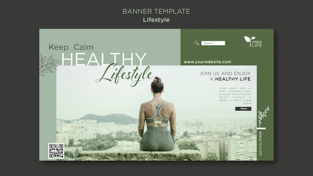 Banner-vorlage für einen gesunden lebensstil