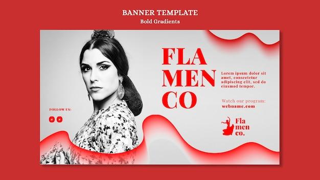 Banner vorlage für flamenco show mit tänzerin
