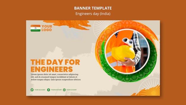 Banner-vorlage für ingenieur-tagesfeier