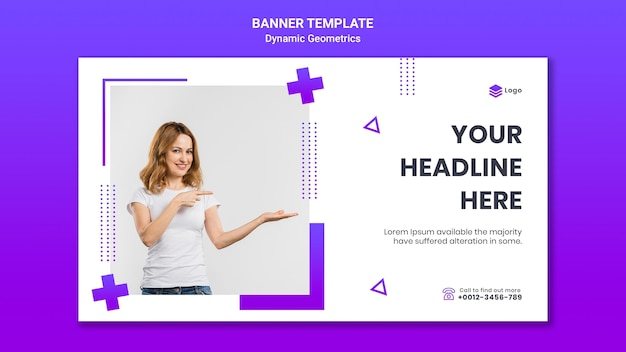 Banner vorlage für kostenloses thema mit dynamischer geometrie