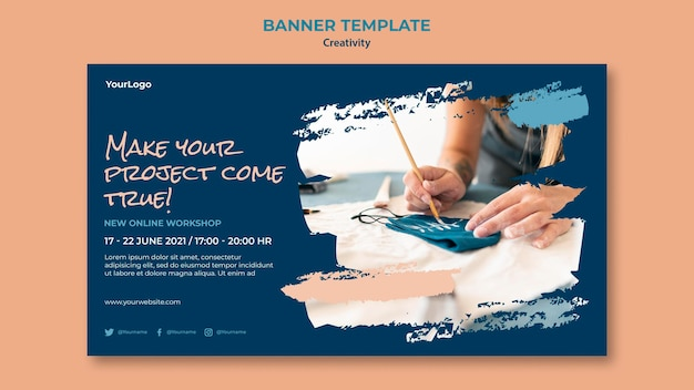 Banner-vorlage für kreativitätsworkshops
