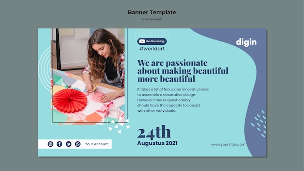 Banner vorlage für kunst und handwerk