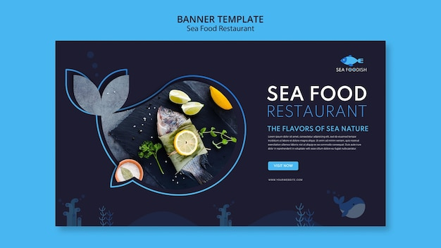 Banner-vorlage für meeresfrüchte-konzept