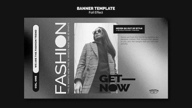Banner vorlage für mode mit folieneffekt