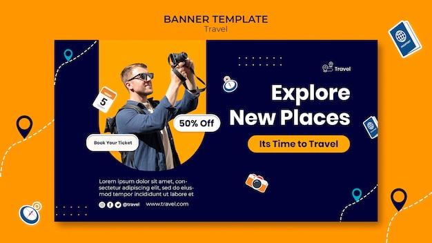 Banner-vorlage für neue orte entdecken