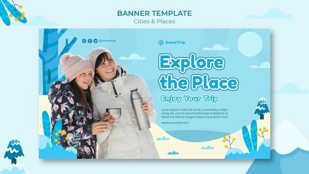 Banner-vorlage für neue orte erkunden