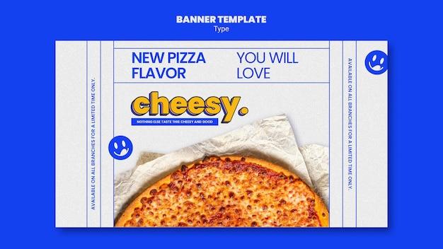 Banner-vorlage für neuen käsigen pizza-geschmack