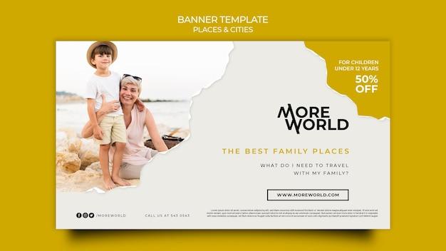 Banner-vorlage für reisende städte und orte