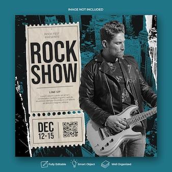 Banner-vorlage für rockmusik-partys oder -events
