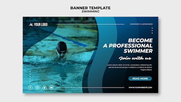 Banner vorlage für schwimmunterricht mit mann im pool