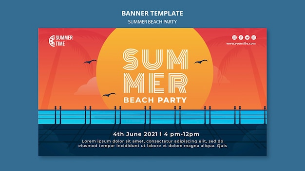 Banner vorlage für sommer strandparty