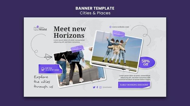 Banner-vorlage für städte und orte