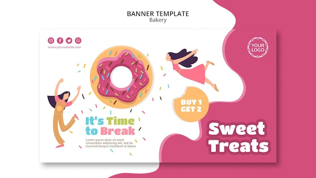 Banner vorlage für süß gebackene donuts