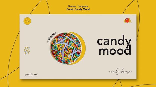 Banner vorlage für süßigkeiten im comic-stil