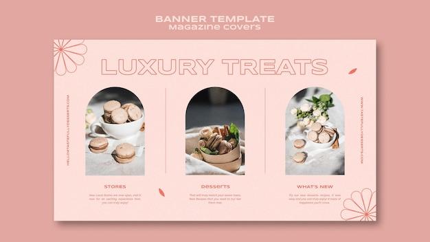 Banner-vorlage für süßigkeiten und leckereien