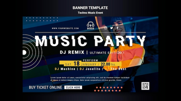 Banner vorlage für techno musik nacht party