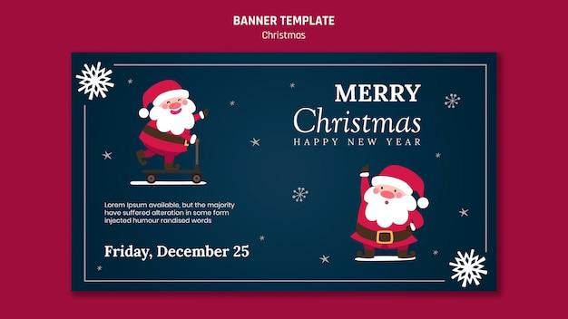 Banner vorlage für weihnachten mit weihnachtsmann