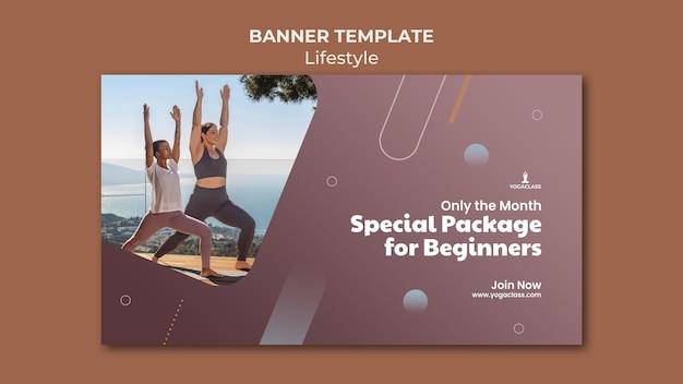 Banner vorlage für yoga-übung und übung