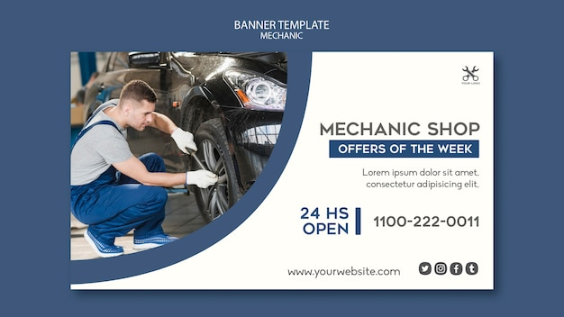 Banner vorlage mechaniker shop