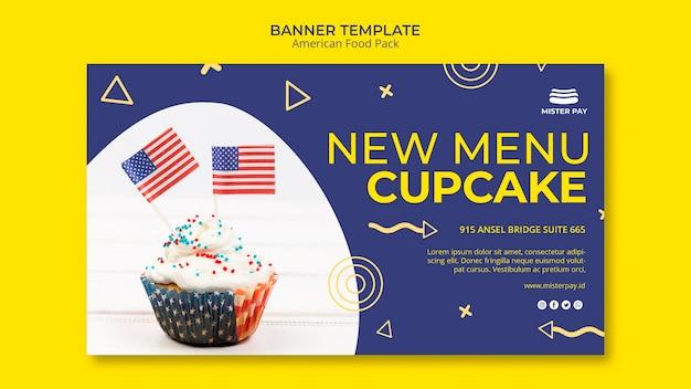 Banner vorlage mit amerikanischem essen