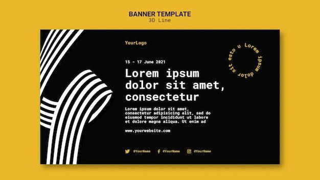 Banner vorlage mit dreidimensionalen linien