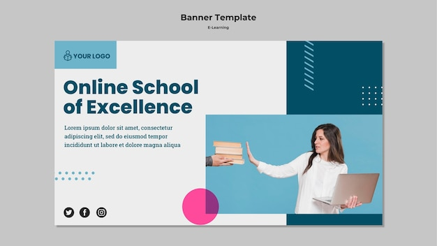 Banner vorlage mit e-learning-thema