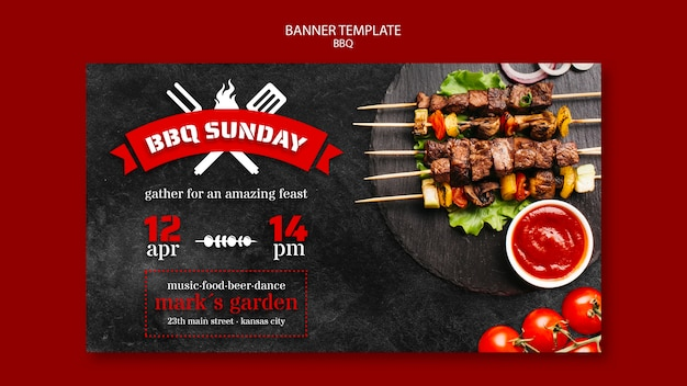 Banner vorlage mit grill thema