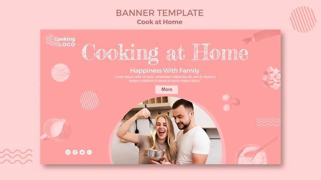 Banner vorlage mit kochen zu hause design