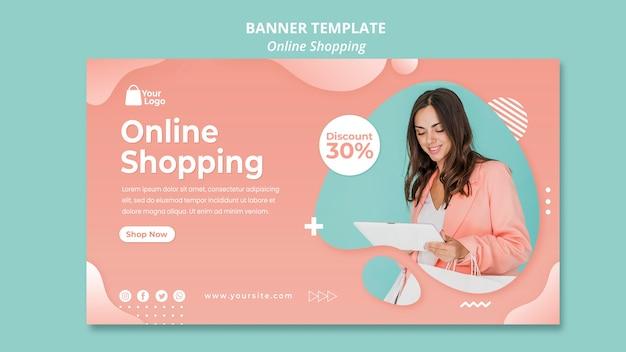 Banner vorlage mit online-einkäufen