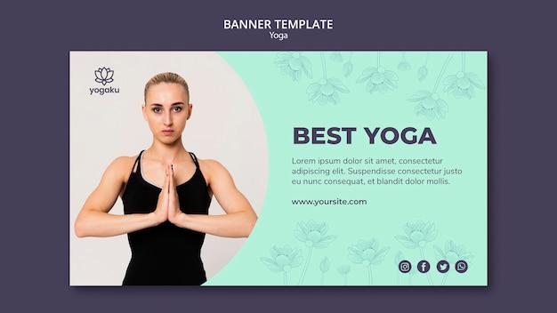Banner vorlage mit yoga-konzept