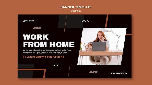 Banner-vorlage von zu hause aus arbeiten