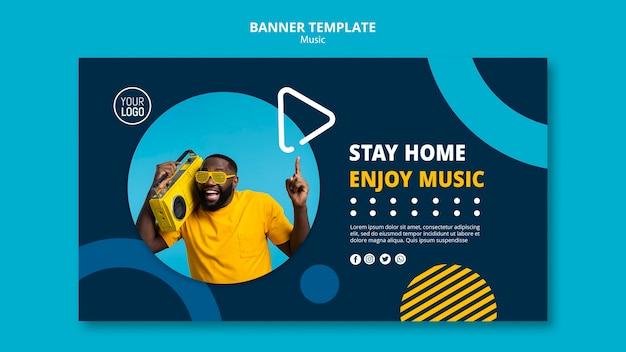 Banner-vorlage zum genießen von musik während der quarantäne