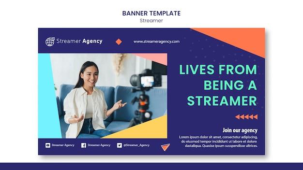 Banner-vorlage zum streamen von online-inhalten