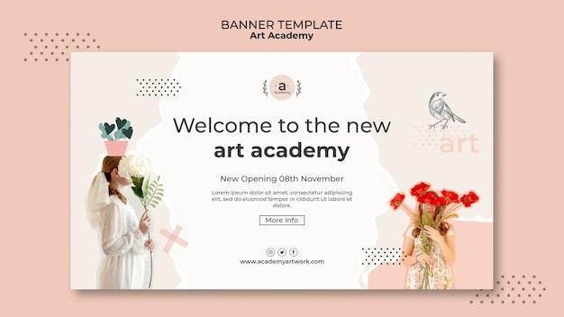 Banner-vorlage zur eröffnung der kunstakademie