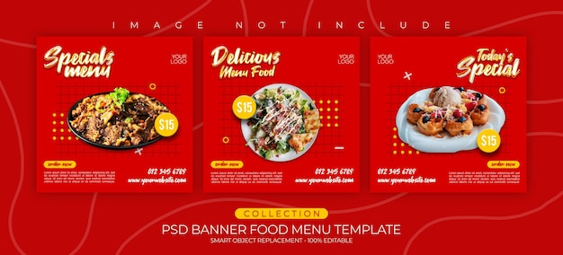 Banner-vorlagen-speisekarte & kulinarische instagram-post-sammlung