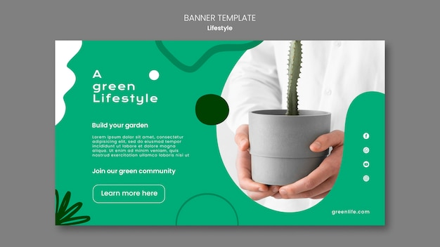Bannerschablone für grünen lebensstil mit pflanze