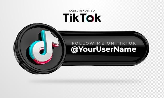 Bannersymbol tiktok follow me label 3d render isoliert
