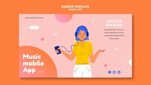 Bannervorlage für musik-apps für mobilgeräte