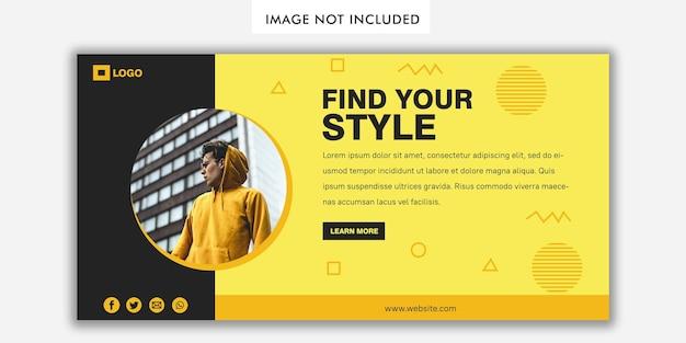 Bannervorlage im modernen stil in gelber und schwarzer farbe