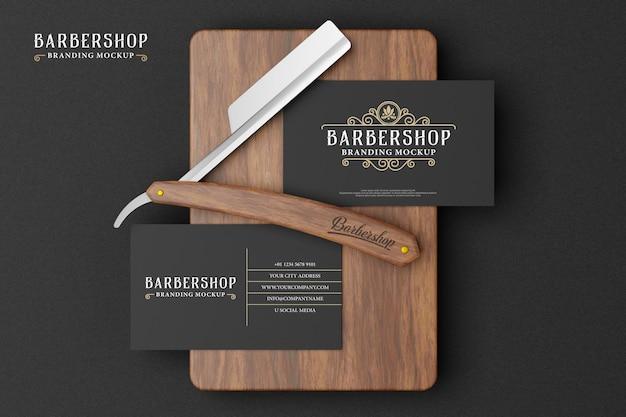 Barbershop-branding-modell im dunklen design