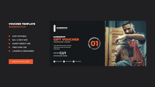 Barbershop geschenk banner gutschein vorlage